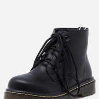 Black Round Toe Lace Up Ankle Boots -SheIn(Sheinside)
