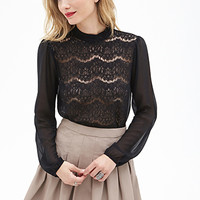LOVE 21 Sheer Lace & Chiffon Blouse Black