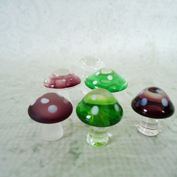 Fairy Garden Toadstools Mushrooms  Glass by SwirlingOrange11