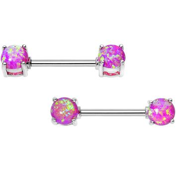 "14 Gauge 9/16"" Stainless Steel Pink Synthetic Opal Nipple Barbell Set"
