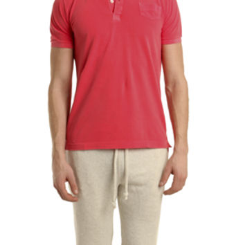 V::ROOM Short Sleeve Pique Polo in Fade Red