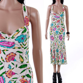 DVF Silk Bias Cut White Colorful Floral Maxi Midi Dress Diane Von Furstenberg Boho Goddess Chic Clothing Womens Size XS Small