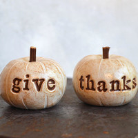Thanksgiving ... give thanks ... handmade polymer clay pumpkins ... Word Pumpkins