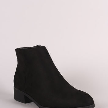 Bamboo Suede Almond Toe Flat Booties