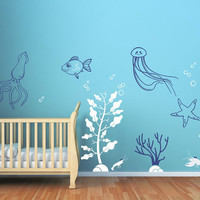 Deep Sea Wall Decals for Baby Nursery. Underwater themed nursery decor. Squid starfish jellyfish lobster seaweed seagrass decal stickers