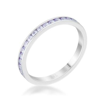 Teresa Lt Lavender Silver Eternity Stackable Ring | 1ct | Stainless Steel