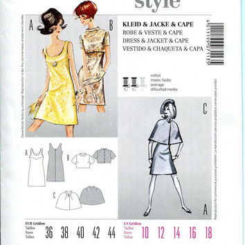 1960s A-Line Shift DRESS Cropped Short Sleeves Bolero Jacket & Cape Burda 7113 Vintage REISSUE Size 10-12-14-16-18 UNCUT Sewing Patterns
