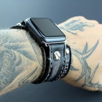 Distressed Black Apple Watch Band