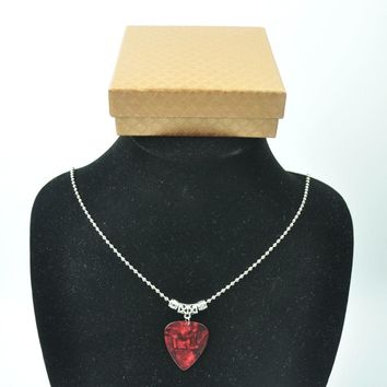 Pearl Red Guitar Pick Plectrum Tibetan Silver 24'' Necklace 2.4mm Bead Chain With Gift box