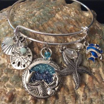 Mermaid Dream Crystal Sea Nautical Jewelry Silver Expandable Charm Bracelet Adjustable Bangle One Size Fits All Gift Sand Dollar Sea Shell Star Fish Blue Fish