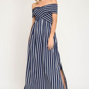 Crisscross Top Off the Shoulder Striped Dress with Side Slits - Navy