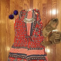 Woodstock Vintage Romper in Red