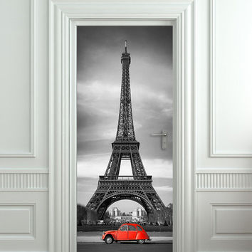 "Door STICKER Eiffel tower red car mural decole film self-adhesive poster 30x79""(77x200 cm) /"