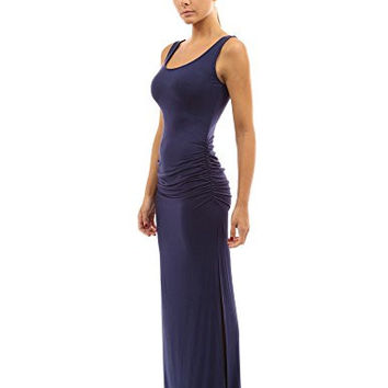 PattyBoutik Women's Sleeveless Summer Maxi Dress (Navy Blue S)