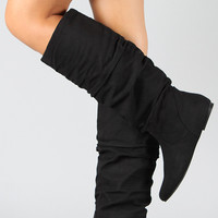 Black Soda Suede Slouchy Knee High Flat Boot