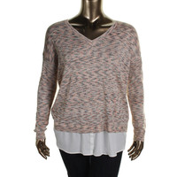 Kensie Womens Knit Marled Pullover Top