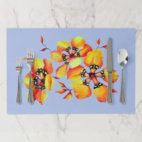 Bright Watercolor Orange Flowers - Blue Placemat