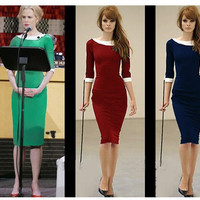 Multi-Color Half Sleeve Midi Pencil Dress