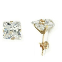 14K  Solid Yellow / White Gold Square Princess Cut CZ Stud Earrings All Size's.