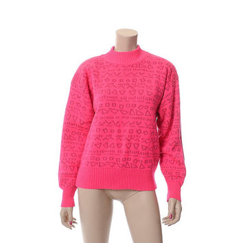 Vintage 80s Nils Neon Hot Pink Ski Sweater 1980s Wool Blend Tribal Pattern Ski Party New Wave Pullover Sweater / Womens size L