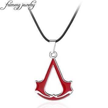 Popular Game Assassins Creed Necklace Vintage Ezio Deiss Mond Red Color Pendant Leather Rope Jewelry For Men And Women