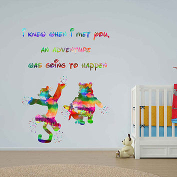 kcik1993 Full Color Wall decal Watercolor Character Disney Winnie the Pooh Tigger quote Sticker Disney children's room