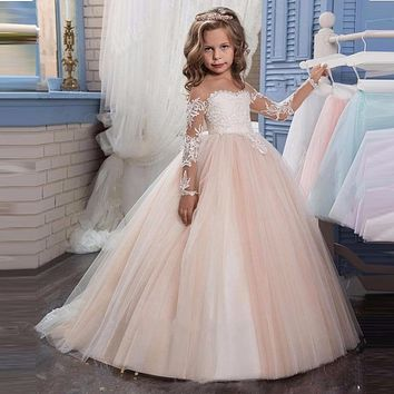 Champagne Puffy Lace Flower Girl Dress for Weddings Tulle Ball Gown Long Sleeve Girl Party Communion Dress Pageant Gown 2017