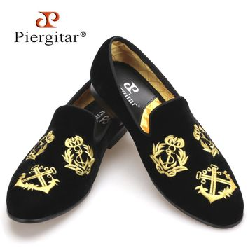 Piergitar new style Handmade Men Velvet shoes with luxurious embroidery Loafers