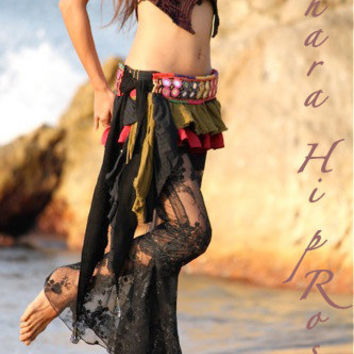 Mermaid Lace Pants / See-Through Trouser S size - Black Lace - Bell-Bottom, Steam punk, Neo Gypsy, Gothic
