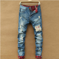 Vintage Distressed Ripped Jeans Men Straight Slim Fit