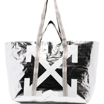 The Metallic Silver And White Arrow Graphic Tote Bag by OFF-WHITE