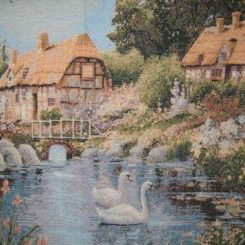 """DaDa Bedding Village Scene French Country Elegant Tapestry Wall Hanging - 36"""" X 36"""""""