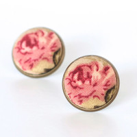 Romantic Roses Earring Studs - Fabric Button Stud Earrings - Pink Brown Tan and Beige Flowers Jewelry - Antique Country Earring Posts