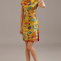 Golden Chinese Wedding Dragon & Phoenix Qipao