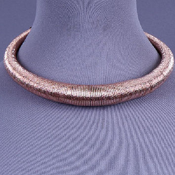 "16"" rose gold coil choker collar bib necklace statement"