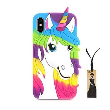 3D Soft Silicone Unicorn Case for iPhone X iPhone 10 Luxury Designer Cute Lovely Special Hot Fashion Fancy Chic Protective Shockproof Gift Kids Teens Girls Women