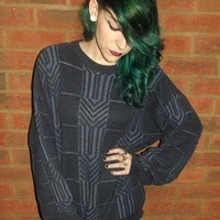 Vintage 90's GRUNGE Oversize Navy Slouch Snug Jumper from CherryCameTo