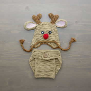 Crochet Reindeer Costume, Crochet Reindeer Set, Diaper Cover Set, Crochet Baby Hat, Newborn Photography Prop, Photo Prop, Rudolph Costume