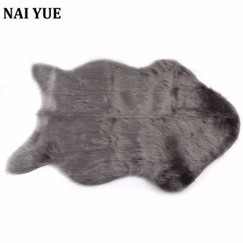 NAI YUE Soft Sheepskin Chair Warm Hairy Carpet Seat Pad Plain Skin Fur Plain Fluffy Area Rugs Washable Bedroom Faux Mat