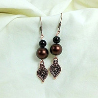 "Antique Brass Mocha Pearl & Engraved Tear Drop Earrings, ""Charity"""