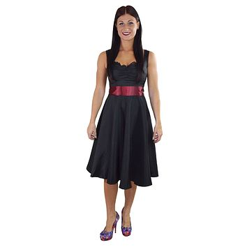 60's Vinatge Retro Design Little Black Satin Dress with Burgundy Sash Ribbon Belt
