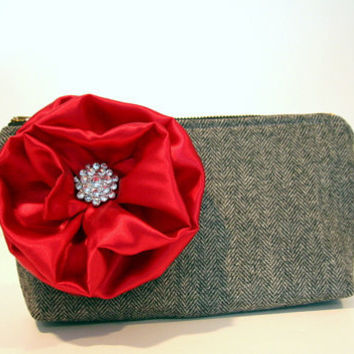 gray and black tweed clutch wtih detachable by SassyStitchesbyLori