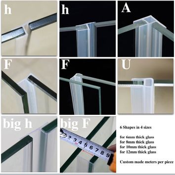 Silicone Seals Sliding Door Screen Shower Door Window Barn Bathroom Sealing 6 8 10 12mm Glass Fixture Accessories Custom Made