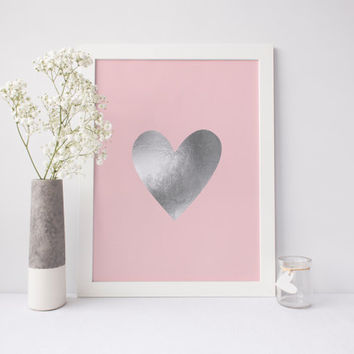 Silver Heart Printable, Love Art, Faux Silver Foil Heart Print, Pink Heart Art, Silver Art, Heart Wall Art, Girls Room Decor, Printable Art
