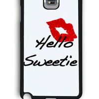 Samsung Galaxy Note 4 Case - Hard (PC) Cover with kiss hello sweetie Plastic Case Design