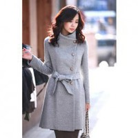 New Arrival Elegance Style Four Button Design Stand Collar Cashmere Wool Overcoat China Wholesale - Sammydress.com