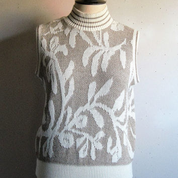 Vintage 1970s Helen Harper Vest Cream Gold Metallic Intarsia Knit Vest Medium