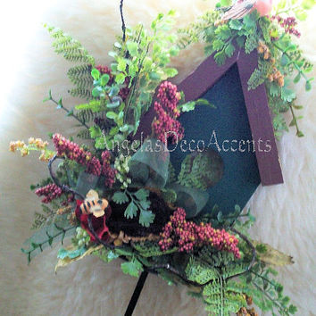 Birdhouse Wall Accent Mantel Silk Floral Arrangement Greens Rust Handmade Original Country Rustic All Seasons Tuscany Winged Retreat 285 a