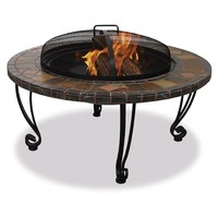 Marble & Slate 34-inch Fire Pit with Copper Accents & Wrought Iron Stand