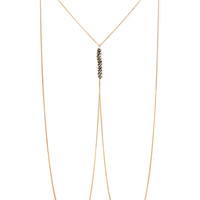 FOREVER 21 Beaded Body Chain Dark Grey/Gold One